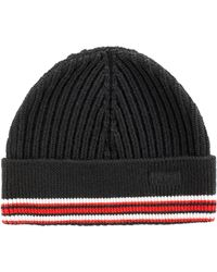 HUGO - Ribbed Merino-wool Beanie Hat With Logo Embroidery - Lyst