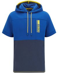 BOSS by HUGO BOSS Short-sleeved Hooded Sweatshirt With Colour-block Logo Embroidery - Blue