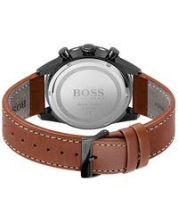 BOSS by HUGO BOSS Chronograaf Met Zwarte Coating En Leren Polsband Met Stiksels