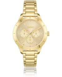 HUGO Yellow-gold-effect Watch With Logo-embossed Bezel - Metallic