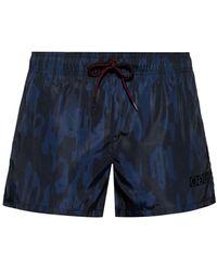 HUGO Quick-dry Short-length Swim Shorts With Camouflage Print - Blue