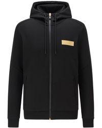 BOSS by HUGO BOSS Sweater Met Capuchon, Ritssluiting En Contrasterend Logo - Zwart