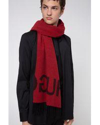 BOSS by HUGO BOSS Reverse Logo Scarf In A Wool Blend Jacquard - Red