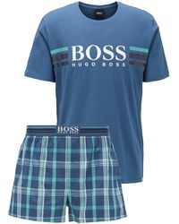 BOSS by Hugo Boss Logo Pyjama Set In Cotton With Jersey Bag - Blue
