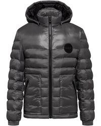 HUGO Slim-fit Padded Jacket With Detachable Logo-print Hood - Grey
