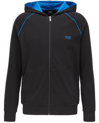 BOSS by Hugo Boss Zip-through Hoodie In Stretch Cotton Jersey With Contrast Piping - Black