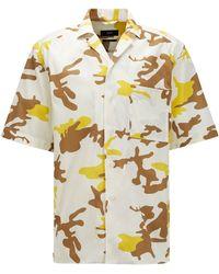 BOSS by HUGO BOSS Relaxed-fit Overhemd Van Italiaanse Katoenen Popeline Met Camouflageprint - Geel