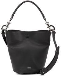 BOSS Italian-leather Bucket Bag With Snap-hook Hardware - Black