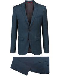 HUGO - Extra-slim-fit Checked Suit In Virgin Wool - Lyst