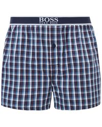 BOSS Two-pack Of Pyjama Shorts With Logo-jacquard Waistbands - Blue