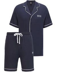 BOSS by HUGO BOSS Pyjamaset Met Logo En Contrastbiezen - Blauw