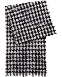 HUGO Virgin-wool-blend Scarf With Jacquard-knit Houndstooth Check - Multicolor