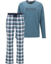 BOSS by Hugo Boss Pijama con logo estampado en contraste presentado en una caja de regalo - Azul