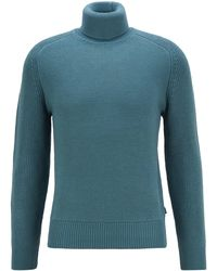 BOSS by Hugo Boss Rollneck Sweater In A Structured Wool Blend - Green