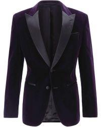 BOSS Men's Slim-fit Velvet Dinner Jacket, Purple