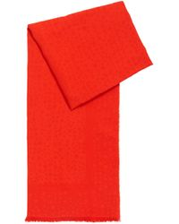 BOSS Cotton-blend Jacquard Scarf With Raw Edges - Red