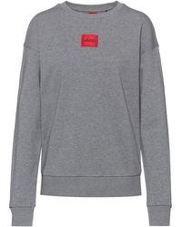 HUGO Regular-fit Sweater Van Katoen Met Rood Logolabel - Grijs