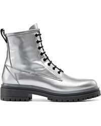 HUGO Lug-sole Lace-up Boots In Laminated Italian Leather - Metallic