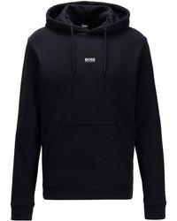 BOSS by HUGO BOSS Relaxed-fit Sweater Met Capuchon Van Badstof Met Logo - Zwart