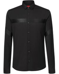HUGO - Extra-slim-fit Shirt In Cotton With Tonal Ribbon Details - Lyst
