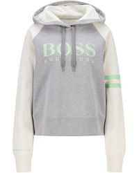 BOSS by HUGO BOSS Oversized-fit Hooded Sweatshirt In Organic Cotton With Logo - Grey