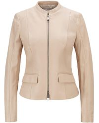 BOSS Leather Jacket In Lamb Nappa With Buckle Detail - Natural