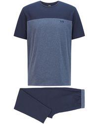 BOSS by HUGO BOSS Pyjama Van Stretchkatoen Met T-shirt Met Color-blocking - Blauw