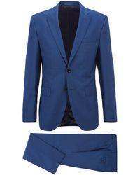 BOSS by HUGO BOSS Fein gemusterter Regular-Fit Anzug aus Schurwoll-Serge - Blau