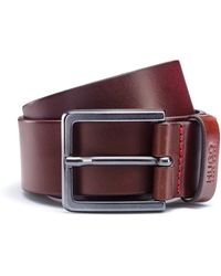 HUGO Leather Belt With Matte Gunmetal Hardware - Brown
