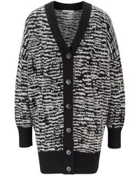 BOSS by HUGO BOSS Relaxed-fit Long-length Cardigan With Zebra Pattern - Black