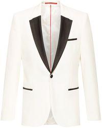 HUGO Extra-slim-fit Evening Jacket In Cotton Velvet - White
