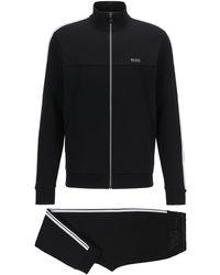 BOSS by HUGO BOSS Regular-fit Tracksuit In Cotton-blend Jersey - Black