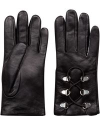 HUGO - Laced Gloves In Lambskin With D-ring Closure - Lyst