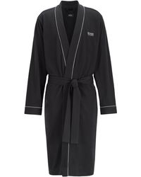 BOSS Cotton Dressing Gown With Contrast Piping - Black