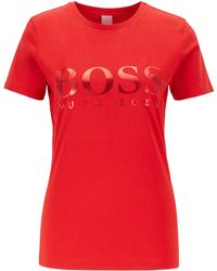 BOSS Cotton Jersey T-shirt With Foil Logo Print - Red