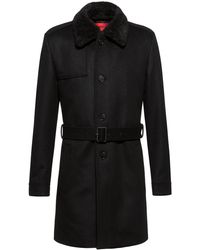 HUGO Wool-blend Slim-fit Trench Coat With Detachable Teddy Collar - Black