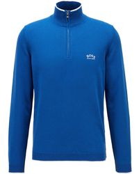 BOSS by HUGO BOSS Zip-neck Jumper In Organic Cotton With Contrast Accents - Blue