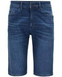 BOSS by Hugo Boss Tapered-Fit Shorts aus indigoblauem Super-Stretch-Denim