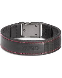 HUGO - Italian-leather Bracelet With Woven Tape And Red Stitching - Lyst