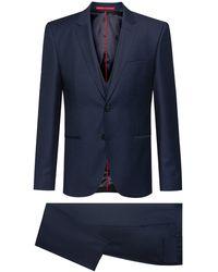 HUGO Extra-slim-fit Three-piece Suit In A Birdseye Wool Blend - Blue