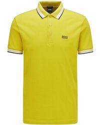 BOSS by HUGO BOSS Poloshirt aus Baumwoll-Piqué mit Logo an der Kragenunterseite - Gelb