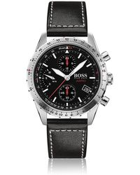 BOSS Chronograph Watch With Italian Leather Strap - Black
