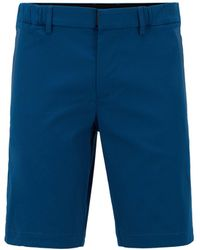 BOSS Slim-fit Shorts In Cotton-blend Stretch Dobby - Blue