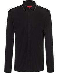 HUGO Camisa extra slim fit de algodón con detalles de cremallera en el cuello - Negro