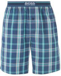 BOSS Short de pyjama à carreaux doté d'une taille à logo - Bleu