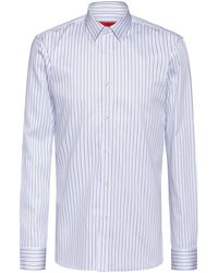 HUGO Extra-slim-fit Shirt In Striped Cotton - Blue