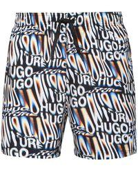 BOSS by HUGO BOSS Seasonal Print Quick Drying Swim Shorts With Rubber Logo - White