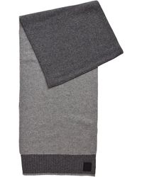 BOSS by Hugo Boss Plain-knit Scarf With Rubberised Logo Badge - Grey