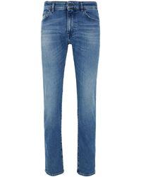 BOSS by Hugo Boss Regular-fit Jeans In Bright-blue Distressed Stretch Denim