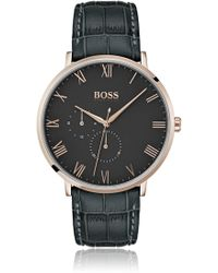 BOSS Three-hand Watch With Crocodile-patterned Leather Strap - Green